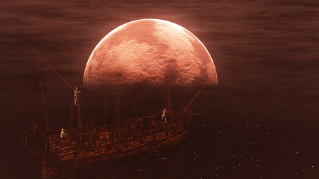 phantom: Skeletons in a ghost sailboat with background of red moon