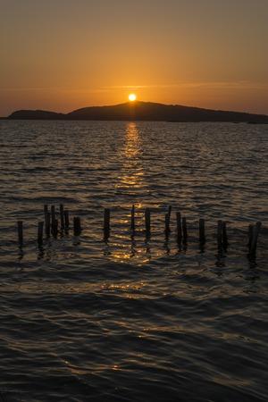 The Gialova lagoon sunset and seaview.