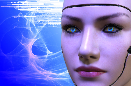 3D rendering of a female robot face Stock Photo