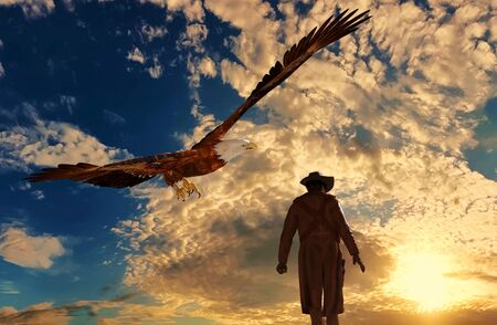 Illustration of a cowboy at sunset with an eagle - 3D rendering Stock Photo