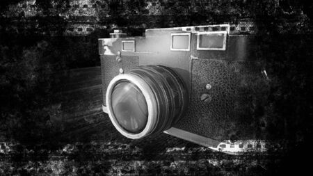 Old Vintage Photo Camera on Black Background with film