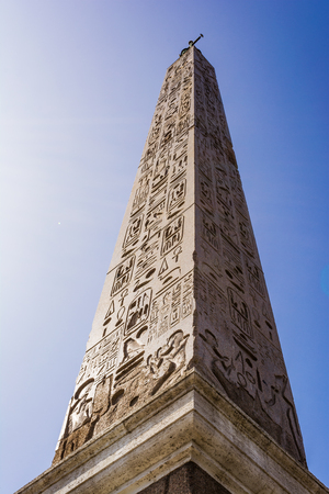 heliopolis: Egyptian Obelisk in Piazza del Popolo, Rome Stock Photo