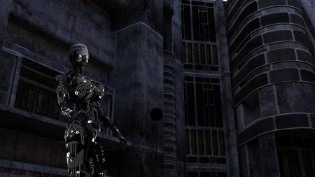 暗い部屋で未来のサイボーグ 写真素材 - 85496639