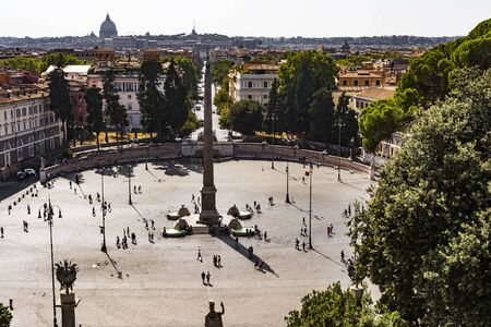 heliopolis: top view of Egyptian Obelisk in Piazza del Popolo, Rome Editorial