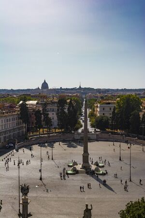 heliopolis: Top view of Egyptian Obelisk in Piazza del Popolo, Rome