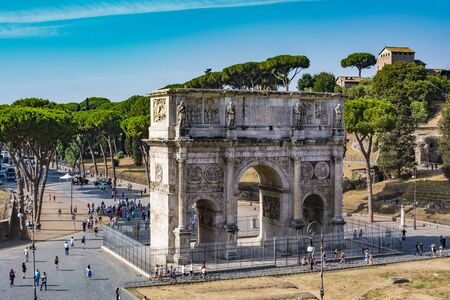 High angle view of the Arch of Constantine from the Colosseum
