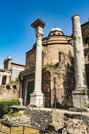 Temple of Romulus in the Roman Forum, Rome, Italy Stock Photo