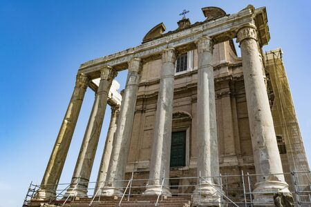 Temple Emperor Antonius and Wife Faustina with Corinthian Columns at Roman Forum, Rome, Italy