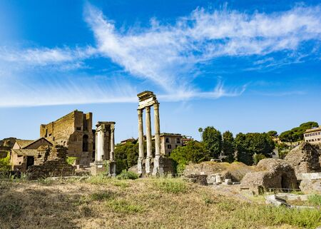 Temple of the Dioscuri - Temple of Castor and Pollux - in the Roman Forum, Rome, Italy.