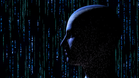 Human head with binary code at matrix background - 3d rendering