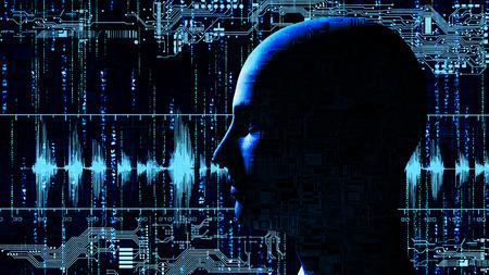 전자 회로 -3D 렌더링 매트릭스 배경에서 인간의 첨단 기술 머리