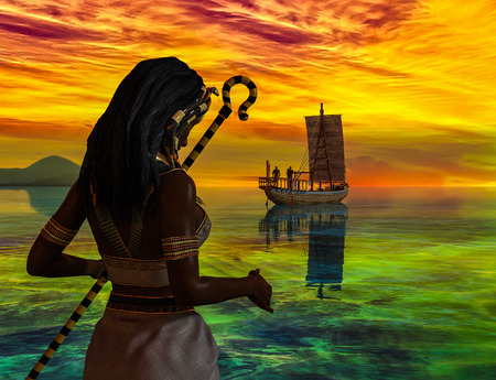A historical Egyptian woman watching an ancient Egyptian boat - 3d rendering 스톡 콘텐츠