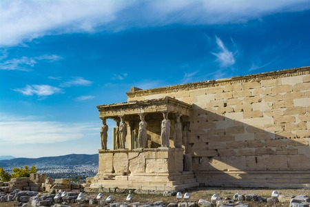 The Porch of the Caryatids at the Erechtheion temple on the Acropolis, Athens, Greece. Six columns sculpted as figures of maidens in place of ordinary columns. Stock Photo