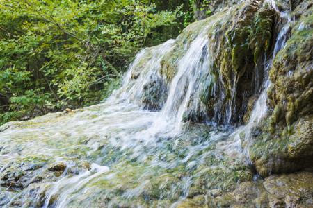Mountain waterfall at polilimnio, Messinia, Greece