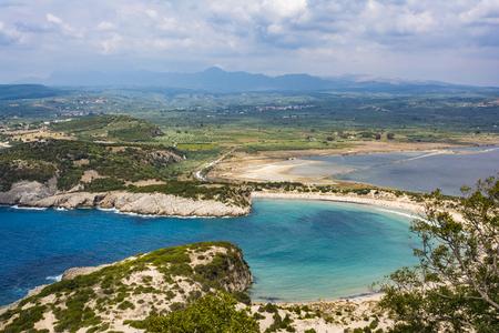 View of Voidokilia beach in the Peloponnese region of Greece, from the Palaiokastro (old Navarino Castle). Stockfoto