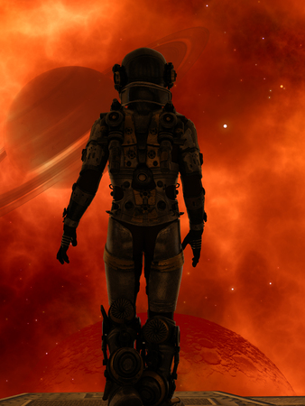 Space traveler looking a big planet in deep space Stockfoto - 99339896