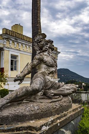 Achilleion palace, Corfu, Greece - August 24, 2018: Sculpture of the dying achilles in achilleion palace corfu Editorial