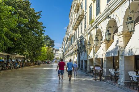 Spianada Square - Liston. The historic center of Corfu town, Greece. Editorial