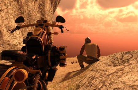Man rider with motorbike on the top of mountains at sunset - 3D rendering