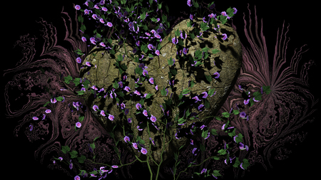 Heart Shaped Rock with flowers over a dark background - 3D rendering Stock Photo