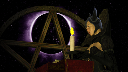 Illustration of a witch reading Magic book with candle light at Black Planet background with Pentacle object - 3D rendering Imagens