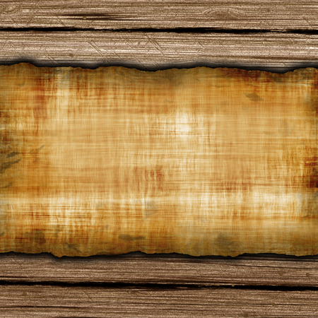 Old grunge paper on the wood background