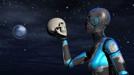 Futuristic Female Android in Space holding human skull Stock Photo