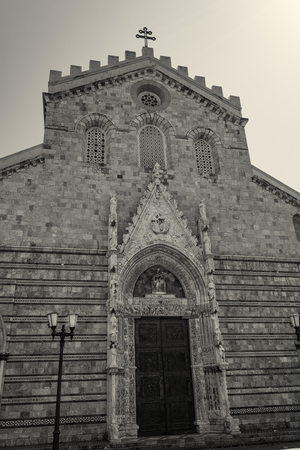 Messina Duomo Cathedral entrance view, Italy Sicily Foto de archivo
