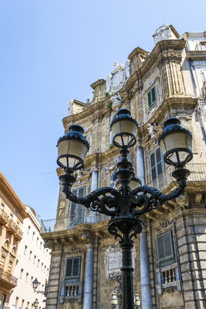 Palermo Sicily Historic Buildings. Old Architecture with statues Imagens