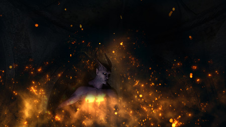 Fallen angel satan in a crypt at fire - 3d rendering