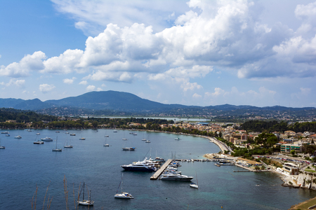 A picturesque view of the city of Corfu from the fortress of the Corfu town in Greece.