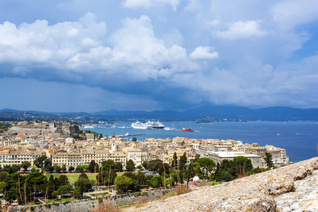 A picturesque view of the city of Corfu from the fortress of the Corfu town. Greece.