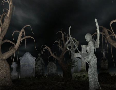 Angel of Death in a spooky cemetery Reklamní fotografie