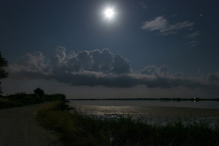 Night scenery. Full moon over lake at Corfu. Greece. 写真素材