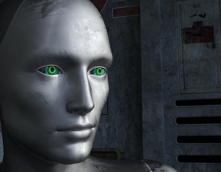 Robot face with green eyes at a futuristic background