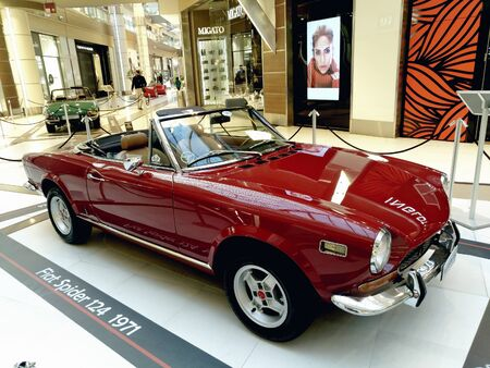 Old cars exhibition, Fiat spider 124 in The Mall of Athens, Greece Redakční