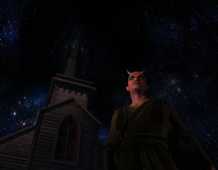 Scary view of Devil in front of a church at night, Horror Halloween concept