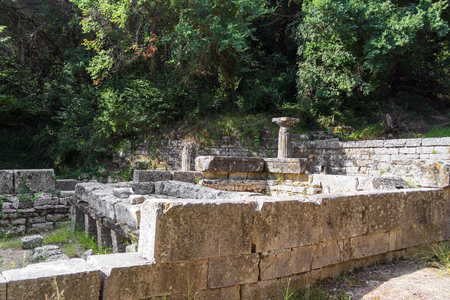Remains of a Doric temple at Mon Repos park, Corfu Town, Greece