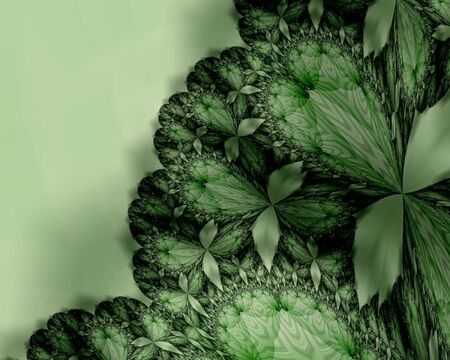 Green leaves on an abstract green background - Illustration