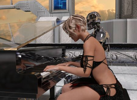 Close up of a woman and a robot playing piano at sunset