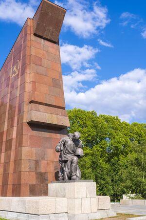 Soviet War Memorial Treptower Park in Berlin, Germany. Statue of Soviet soldier at the Soviet War Memorial in Treptower Park in Berlin.