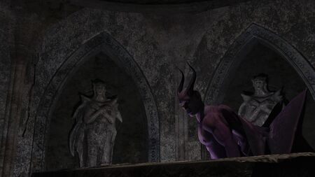 Fallen angel satan in a dark crypt - 3d rendering