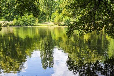 Lake of Schlossgarten Charlottenburg in Berlin. Germany.