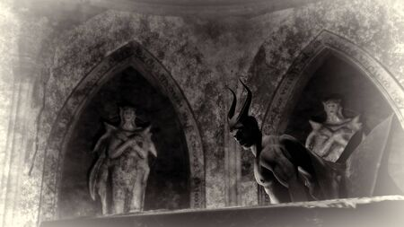 Ángel caído satanás en una cripta oscura - representación 3d
