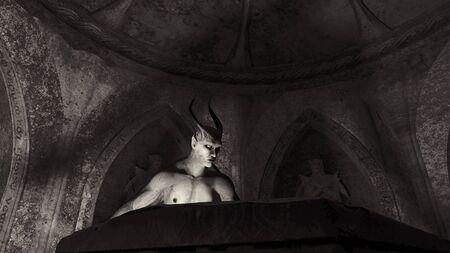 Ángel caído satanás en una cripta - representación 3d
