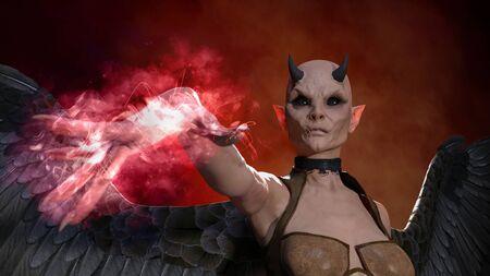 Horned female demon posing over red dark background - 3d rendering Stok Fotoğraf