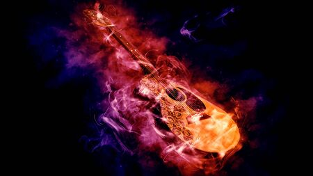 Acoustic classical guitar in smoke on black background - 3d rendering Reklamní fotografie