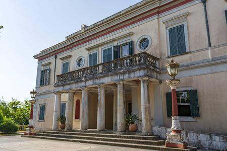 Corfu, Greece - August 26, 2018: Mon Repos palace in Corfu island at Greece