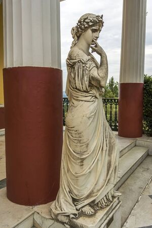 Achilleion palace, Corfu, Greece - August 24, 2018: Statue of a Greek mythical muse in the Achilleion palace in Corfu, Greece