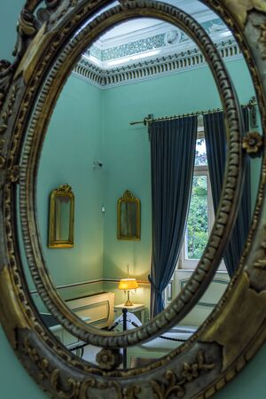 Achilleion palace, Corfu, Greece - August 24, 2018: Achilleion palace of Empress of Austria Elisabeth of Bavaria in Corfu island, Greece